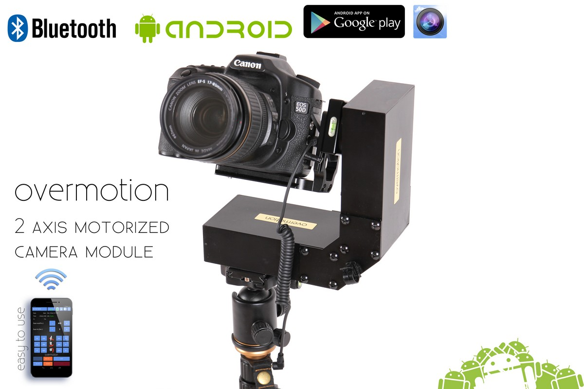 2 AXIS Motorized Camera Pan-Tilt module, Motion Control, Bluetooth Android,  Ready To Use Kit - Overmotion
